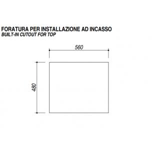 Piano Cottura OMNIA incasso da 60 - 3 gas + Tripla corona griglie smaltate in ghisa - Decorato