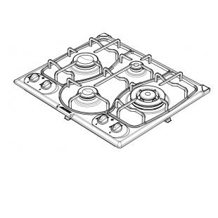 OMNIA 60 cm built-in hob 4 gas burners + Triple ring enamel pan support - Decorated