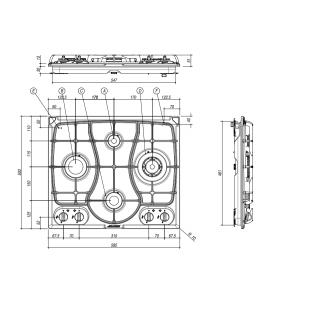 OMNIA 60 cm built-in hob 4 gas burners + Triple ring cast iron pan support - Oatmeal Granite