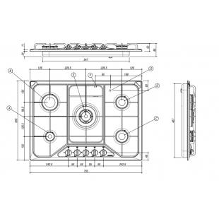 Piano Cottura SETTANTA incasso da 70 - 4 gas + tripla corona griglie smaltate in piattina - Granito Neve