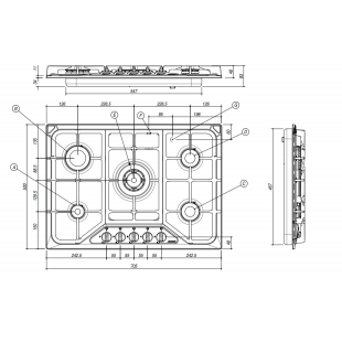 Piano Cottura SETTANTA incasso da 70 - 4 gas + tripla corona griglie in ghisa - Terra di Francia