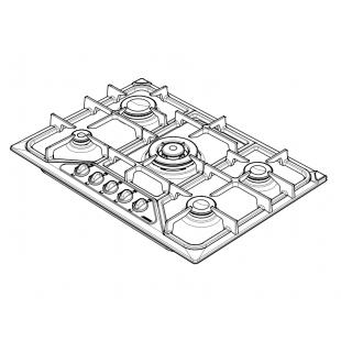 SETTANTA 70 cm built-in hob 4 gas burners + triple ring cast iron pan support - Yellow Ocher