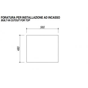 SETTANTA 70 cm built-in 4 gas burners + triple ring enamel pan support - Black Granite
