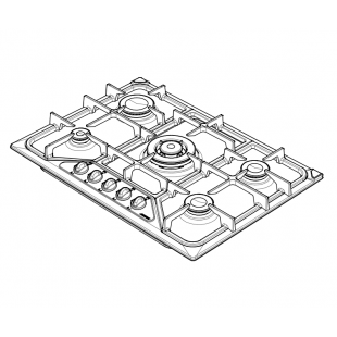 SETTANTA 70 cm built-in hob 4 gas burners + triple ring cast iron pan support - Oatmeal Granite