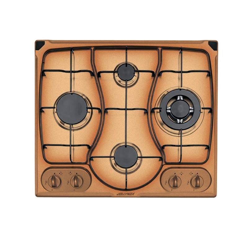 OMNIA 60 cm built-in hob 4 gas burners + Triple ring enamel pan support - Yellow Ocher