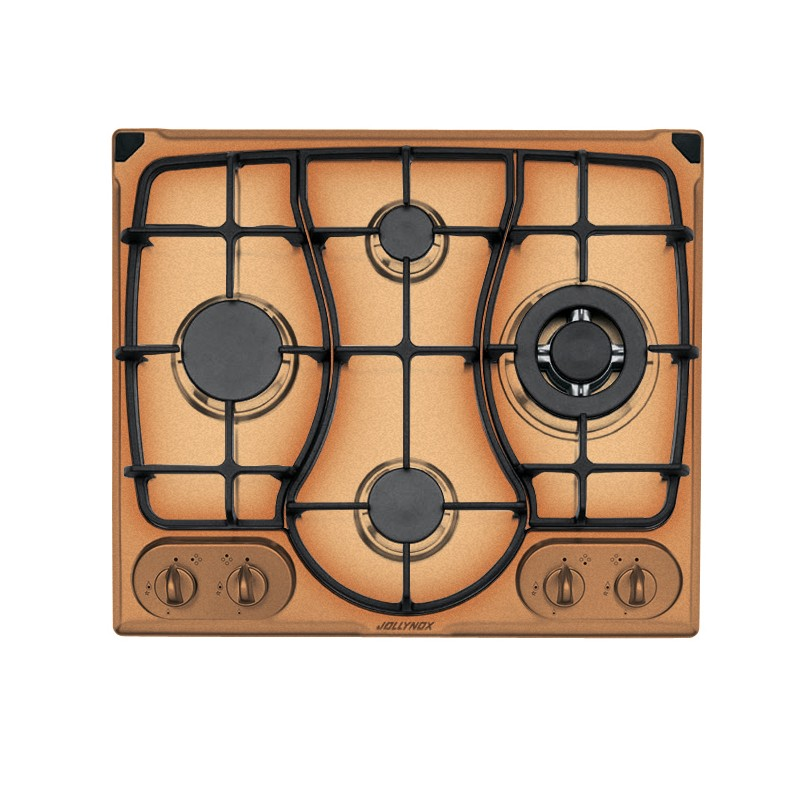OMNIA 60 cm built-in hob 4 gas burners + Triple ring cast iron pan support - Yellow Ocher
