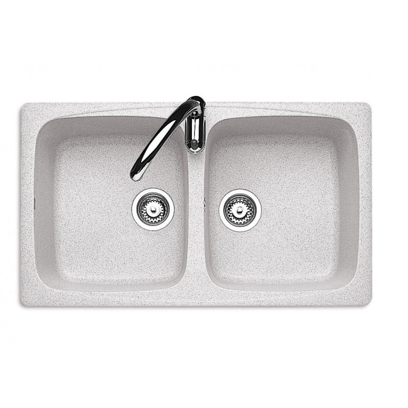 86x50 cm J-Granito built-in sink - 2 bowls - Snow Granite