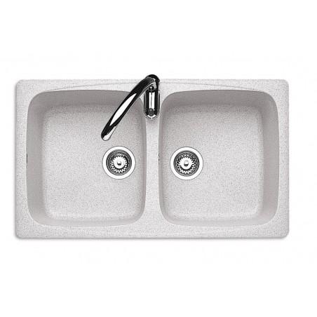 Lavello J-Granito incasso 86x50 cm - 2 vasche - Granito Neve