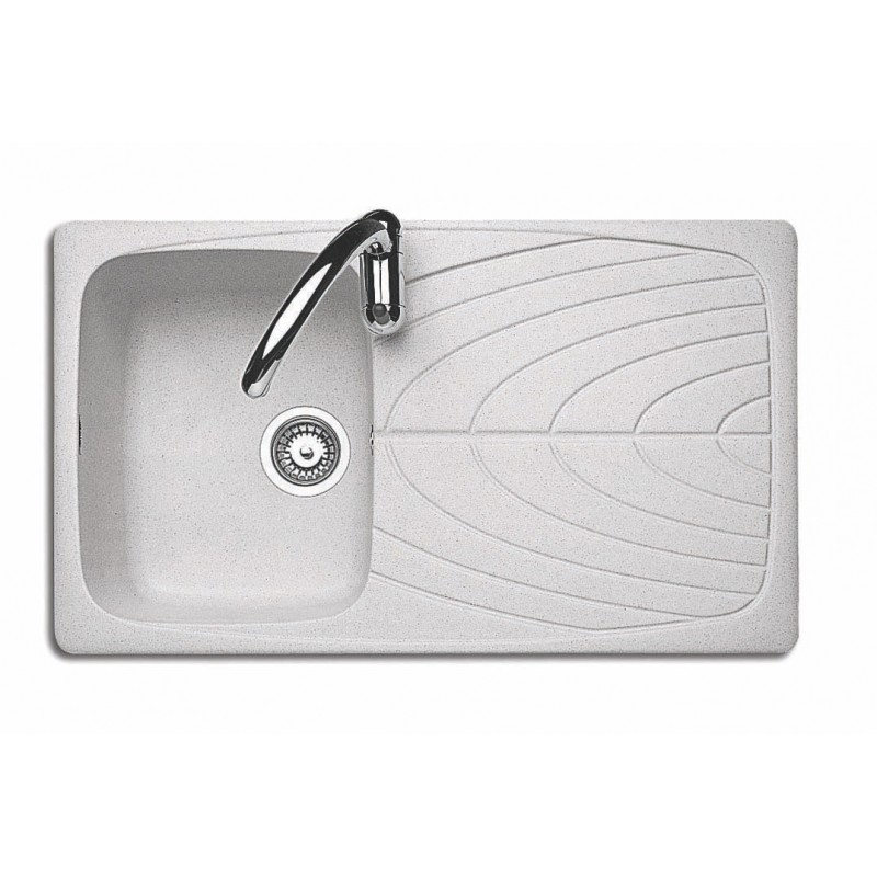 Lavello J-Granito incasso 86x50 cm - 1 vasca + gocciolatoio - Granito Neve