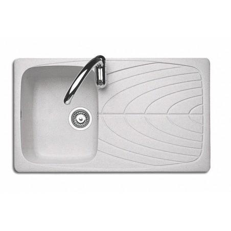 86x50 cm J-Granito built-in sink - 1 bowl + right - Snow Granite