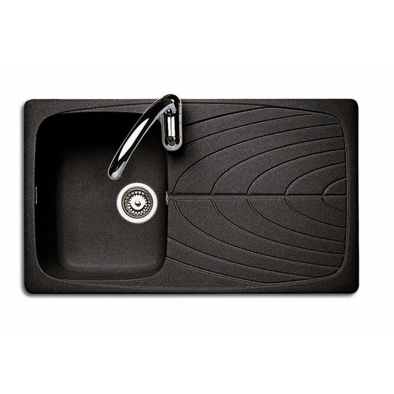 Lavello J-Granito incasso 86x50 cm - 1 vasca + gocciolatoio - Granito Nero