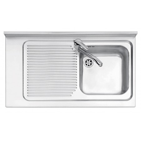 90x50 cm Free Standing stainless satin steel sink - 1 bowl + left drainer