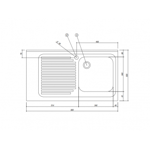 Lavello Free Standing inox satinato 90x50 cm - 1 vasca + gocciolatoio sinistro