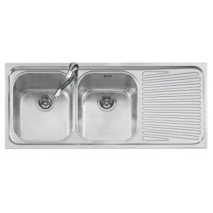 Lavello VEGA incasso inox 116x50 2 Vasche + gocciolatoio destro