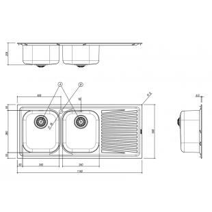 116x50 cm VEGA built-in sink - 2 bowls + right drainer