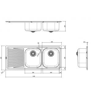116x50 cm VEGA built-in sink - 2 bowls + left drainer
