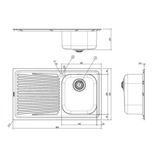 Lavello VEGA incasso inox 86x50 1 Vasca + gocciolatoio sinistro