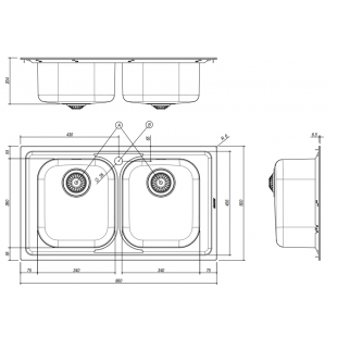 Lavello VEGA incasso inox 86x50 2 Vasche