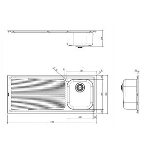 Lavello VEGA incasso inox 102x50 1 Vasca + gocciolatoio sinistro
