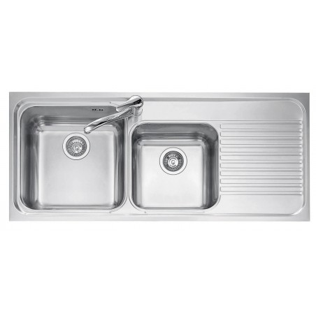 116x50 cm OMNIA built-in sink - 2 bowls + right drainer