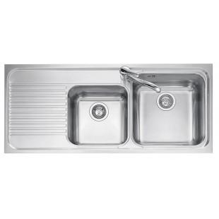 116x50 cm OMNIA built-in sink - 2 bowls + left drainer