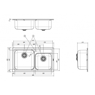 Lavello OMNIA incasso inox 86x50 2 Vasche